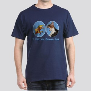 T Rex vs Devon Rex Dark T-Shirt