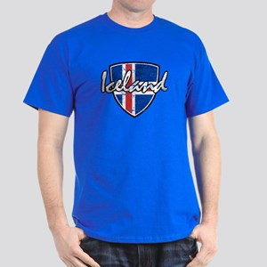 Iceland distressed Flag Dark T-Shirt