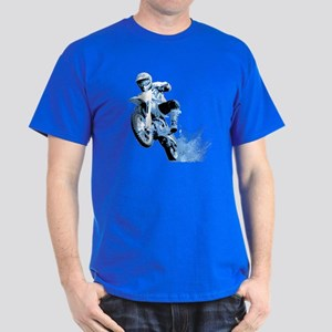 Blue Dirtbike Wheeling in Mud Dark T-Shirt