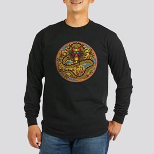 Asian Dragon Motif Long Sleeve Dark T-Shirt