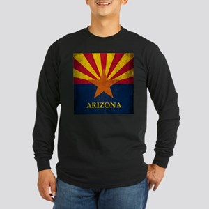 Grunge Arizona Flag Long Sleeve Dark T-Shirt