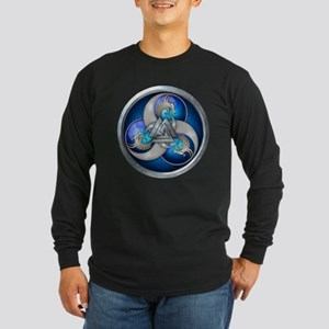 Blue Norse Triple Dragons Long Sleeve Dark T-Shirt