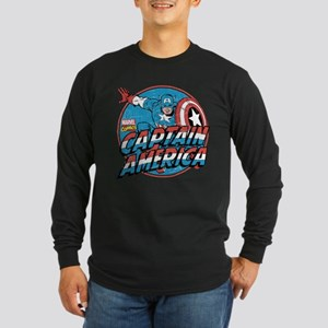 Captain America Vintage Long Sleeve Dark T-Shirt