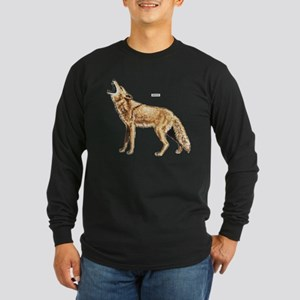 Coyote Wild Animal Long Sleeve Dark T-Shirt