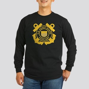 USCGAux-Black-Shirt Long Sleeve Dark T-Shirt