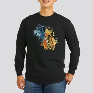 Saxophone Painting  Long Sleeve Dark T-Shirt