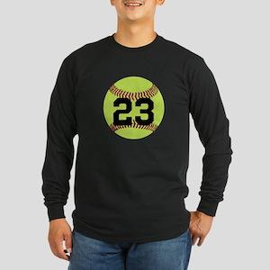 Softball Number Personali Long Sleeve Dark T-Shirt