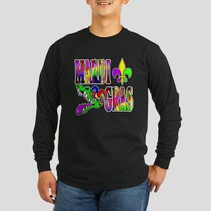 Mardi Gras with Gator Long Sleeve Dark T-Shirt