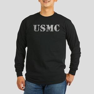 USMC [vintage text] Long Sleeve Dark T-Shirt