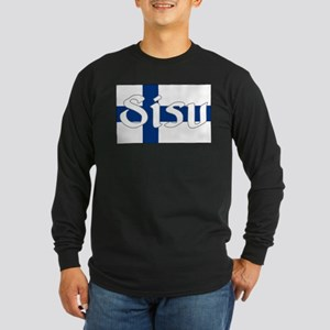 Finnish Sisu (Finnish Flag) Long Sleeve Dark T-Shi