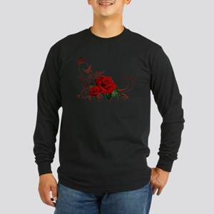red roses Long Sleeve Dark T-Shirt