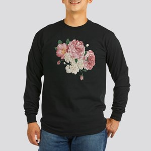 Pink Roses Flower Long Sleeve Dark T-Shirt