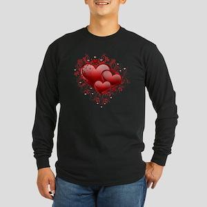 Floral Hearts Long Sleeve Dark T-Shirt