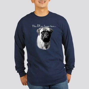 Bullmastiff Happy Face Long Sleeve Dark T-Shirt