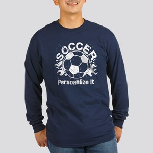 Personalized Soccer Flames Long Sleeve Dark T-Shir