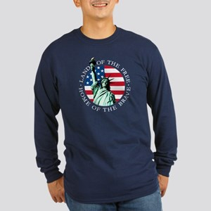 American flag Long Sleeve Shirt -Statue of Liberty