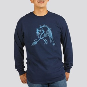 Horse Head Sketch Long Sleeve Dark T-Shirt