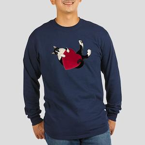 Black White Cat Heart Long Sleeve T-Shirt
