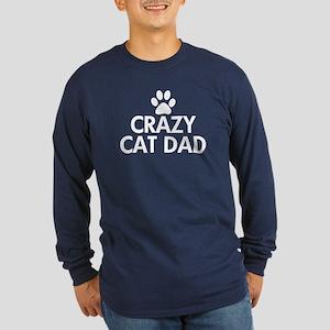 Crazy Cat Dad Long Sleeve Dark T-Shirt