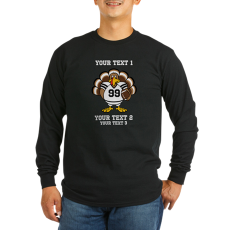 Custom Turkey Bowl Long Sleeve Dark T-Shirt