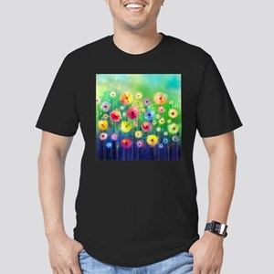 Watercolor Flowers Men's Fitted T-Shirt (dark)