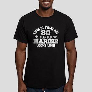 80th Birthday Marine Men's Fitted T-Shirt (dark)