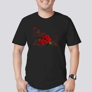 red roses Men's Fitted T-Shirt (dark)