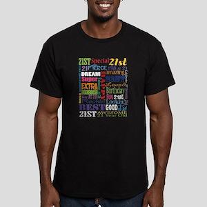 21st Birthday Typograp Men's Fitted T-Shirt (dark)