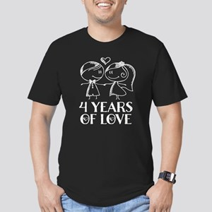 4th Anniversary chalk Men's Fitted T-Shirt (dark)