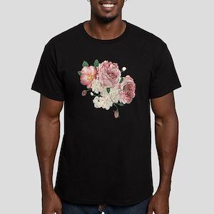 Pink Roses Flower Men's Fitted T-Shirt (dark)