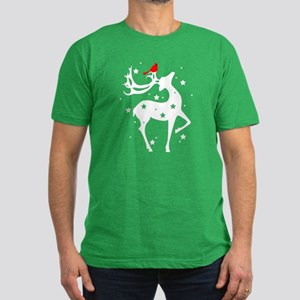 Winter Reindeer Men's Fitted T-Shirt (dark)