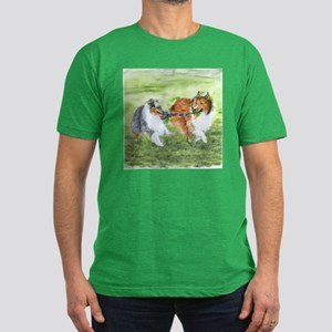 Shetland Sheepdogs At Play Men's Fitted T-Shirt (d