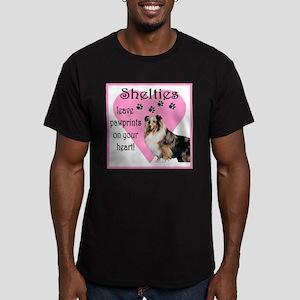 Sheltie Pawprints Heart Men's Fitted T-Shirt (dark