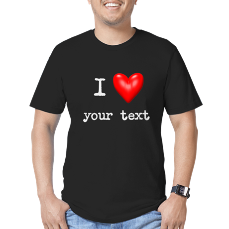 I Love I Heart Customize Men's Fitted T-Shirt (dar