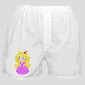 Blond Cupcake Princess In Pink Dress Boxer Shorts