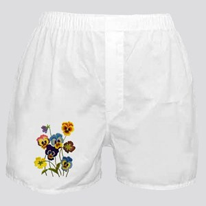 Colorful Embroidered Pansies Boxer Shorts