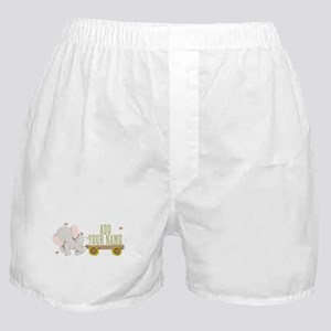 PERSONALIZED Cute Elephant Cart Boxer Shorts