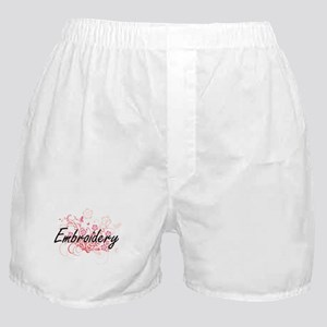 Embroidery Artistic Design with Flowe Boxer Shorts