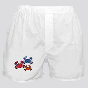 Blue & Red Mosaic Crab Trio Boxer Shorts