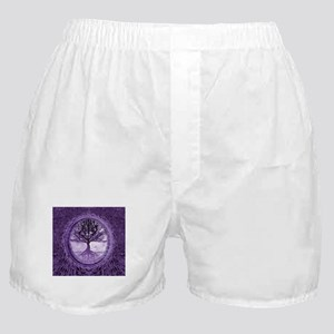 Tree of Life in Purple Boxer Shorts