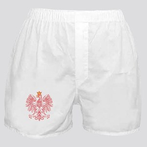 Polish Eagle Outlined In Red Boxer Shorts
