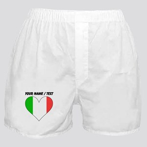 Custom Italy Flag Heart Boxer Shorts