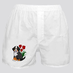 bernese puppy and tulips Boxer Shorts