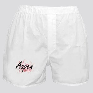 Aspen Artistic Name Design with Flowe Boxer Shorts