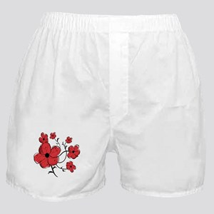 Modern Red and Black Floral Design Boxer Shorts