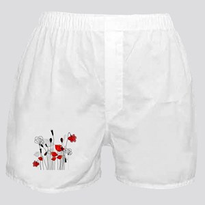 Red Poppies and Hearts Boxer Shorts