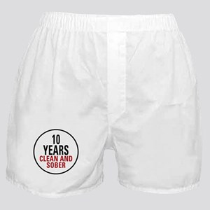 10 Years Clean & Sober Boxer Shorts
