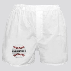 Personalized Baseball Red/White Boxer Shorts