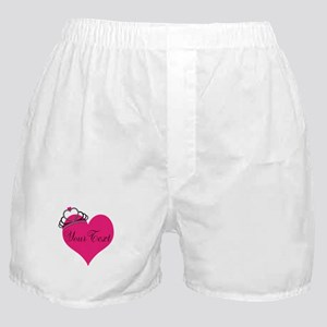 Personalizable Pink Heart with Crown Boxer Shorts