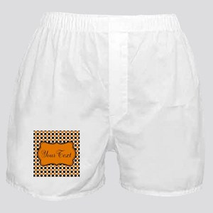Personalizable Orange and Black Dots Boxer Shorts